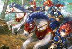 blue_armor blue_eyes cape cosplay dual_persona durandal_(fire_emblem) eliwood_(fire_emblem) eliwood_(fire_emblem)_(cosplay) fire_emblem fire_emblem:_fuuin_no_tsurugi fire_emblem:_rekka_no_ken fire_emblem_heroes headband horse noki_(affabile) redhead roy_(fire_emblem) short_hair smile sword weapon