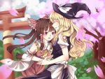 2girls ^_^ bare_shoulders bow brown_hair cherry_blossoms closed_eyes crying crying_with_eyes_open detached_sleeves error grin hair_bow hair_tubes hakurei_reimu hat height_difference imminent_hug kirisame_marisa kiyuumax large_bow long_hair multiple_girls puffy_short_sleeves puffy_sleeves red_eyes sarashi short_sleeves skirt skirt_set smile straight_hair tears torii touhou wavy_hair witch_hat yuri