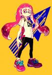 1girl bangs determined directional_arrow english frown inkling leggings long_hair looking_at_viewer pigeon666 pink_eyes pink_hair shirt shoes simple_background sneakers solo splatoon t-shirt