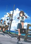 3girls ayanami_(kantai_collection) black_eyes black_hair blue_sailor_collar blue_skirt blue_sky braid brown_eyes brown_hair brown_sailor_collar brown_skirt checkered_footwear clouds day dutch_angle full_body hair_between_eyes hair_ribbon isonami_(kantai_collection) kantai_collection matsutani multiple_girls outdoors pleated_skirt ponytail railroad_crossing railroad_signal railroad_tracks ribbon sailor_collar school_uniform serafuku shikinami_(kantai_collection) short_ponytail side_ponytail sidelocks skirt sky twin_braids walking