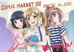 3girls artist_request bag bang_dream! bangs black_hair blonde_hair blue_eyes blush brown_eyes brown_hair casual circle_cut collarbone commentary_request crowd eyebrows_visible_through_hair floral_print frilled_sleeves frills hair_ornament hair_ribbon hair_tie hairpin hand_on_another's_shoulder holding_magazine ichigaya_arisa magazine multiple_boys multiple_girls official_art open_mouth pink_shirt ponytail red_ribbon ribbon shirt short_hair short_sleeves shoulder_bag shoulder_cutout sidelocks smile striped striped_shirt sweat tied_sleeves twintails ushigome_rimi wavy_mouth x_hair_ornament yamabuki_saaya