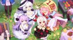 >_< 6+girls :d akashi_(azur_lane) animal_ears anniversary azur_lane banner bird black_dress black_gloves black_legwear blue_eyes blush carrying_over_shoulder cat_ears character_request chick commentary d: day dress dx elbow_gloves eyebrows_visible_through_hair fang flower food gloves grass grill hair_between_eyes hair_bun hair_ornament hat highres illustrious_(azur_lane) kisaragi_(azur_lane) long_hair low_twintails matsutake_(mushroom) multiple_girls open_mouth outdoors pantyhose plate purple_hair red_eyes sausage smile steak stuffed_unicorn tears thighband_pantyhose tsubasa_tsubasa twintails unicorn_(azur_lane) vampire_(azur_lane) violet_eyes white white_dress white_hair white_legwear