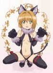 1girl animal_ears antenna_hair bare_shoulders black_legwear black_leotard blush breasts brown_hair card_captor_sakura cat_ears cat_tail cosplay eyebrows_visible_through_hair fake_animal_ears fate/kaleid_liner_prisma_illya fate_(series) fur_trim gloves green_eyes highres illyasviel_von_einzbern illyasviel_von_einzbern_(cosplay) kinomoto_sakura leotard looking_at_viewer navel ontaros open_mouth paw_gloves paw_pose paws shiny shiny_hair shiny_skin short_hair solo spread_legs squatting tail teeth thigh-highs