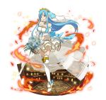 1girl :d ankle_ribbon arm_strap asuna_(sao-alo) back_bow blue_bow blue_eyes blue_flower blue_hair blue_ribbon blue_rose bouquet bow breasts bridal_veil choker collarbone diadem dress faux_figurine fire floating_hair flower full_body headphones high_heels holding holding_bouquet layered_dress long_hair looking_at_viewer medium_breasts one_leg_raised open_mouth ribbon rose see-through short_dress simple_background sleeveless sleeveless_dress smile solo standing standing_on_one_leg strapless strapless_dress sword_art_online thigh-highs veil very_long_hair waist_cape white_background white_dress white_flower white_legwear white_rose