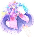 1girl bangs barefoot blush book bow closed_mouth commentary_request crescent dress hair_bow hat highres holding holding_book long_hair long_sleeves looking_at_viewer lying mob_cap on_back one_eye_closed patchouli_knowledge pillow pink_capelet pink_dress pink_hat purple_bow purple_dress purple_hair red_bow revision sleeves_past_wrists solo star star_pillow touhou tsukiyo_(skymint) very_long_hair violet_eyes white_background