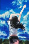 1girl arm_holding black_hair black_skirt blue_sky clouds contrapposto cropped_legs day facing_away faux_traditional_media from_behind fuyuhino hair_blowing head_tilt long_hair original outdoors pleated_skirt sailor_collar school_uniform serafuku short_sleeves skirt sky solo stretch tree wind wind_lift