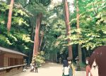 6+girls akagi_(kantai_collection) alternate_costume black_hair brown_hair building cat commentary_request forest highres hiryuu_(kantai_collection) kaga_(kantai_collection) kantai_collection long_hair masukuza_j multiple_girls nature path road scenery short_hair shoukaku_(kantai_collection) silver_hair souryuu_(kantai_collection) tree zuikaku_(kantai_collection)