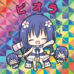 >_< 0_0 3girls :d :o bangs bare_arms bare_shoulders barefoot bikkuriman bikkuriman_(style) blue_hair blue_sailor_collar blush bobby_socks bow braid chibi closed_eyes dress eighth_note eyebrows_visible_through_hair facing_viewer flower flower_knight_girl grey_footwear hair_between_eyes hair_flower hair_ornament holding long_hair looking_at_viewer low_twintails multiple_girls musical_note o_o open_mouth outstretched_arm parody piko_piko_hammer pink_flower red_bow rinechun sailor_collar sailor_dress shoes smile socks standing standing_on_one_leg style_parody translation_request twin_braids twintails viola_(flower_knight_girl) white_dress white_legwear xd