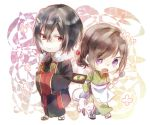 1boy 1girl apron artist_request chibi food fox hair_ornament hairpin highres japanese_clothes kakuriyo_no_yadomeshi ladle oodanna open_mouth red_eyes smile tsubaki_aoi violet_eyes