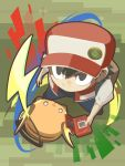 1boy :3 backpack bag bangs baseball_cap black_eyes black_footwear black_hair blue_pants cafe_(chuu_no_ouchi) closed_mouth from_above gen_1_pokemon hair_between_eyes hat holding legs_apart male_focus no_pupils open_clothes open_vest pants pokedex pokemon pokemon_(creature) pokemon_(game) pokemon_rgby raichu red_(pokemon) red_(pokemon_rgby) red_hat red_vest shirt shoes short_hair short_sleeves standing vest