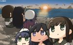 3girls alternate_hairstyle black_hair black_sailor_collar black_skirt blue_sky brown_hair clouds dated empty_eyes eyebrows_visible_through_hair fubuki_(kantai_collection) green_eyes hair_ornament hamu_koutarou hat highres i-400_(kantai_collection) kantai_collection long_hair matsuwa_(kantai_collection) multiple_girls ocean open_mouth outdoors pleated_skirt remodel_(kantai_collection) sailor_collar sailor_hat school_uniform serafuku short_hair short_ponytail short_sleeves sitting skirt sky sun sunrise tan tanline tears torn_clothes violet_eyes white_hat