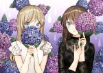 2girls black_shirt blue_eyes blush brown_hair commentary_request covered_mouth fingernails flower gradient gradient_background hands_up holding holding_flower hydrangea kurata_rine light_brown_hair long_hair long_sleeves looking_at_viewer multiple_girls original own_hands_together parted_lips purple_background purple_flower see-through shirt very_long_hair water_drop wet white_background white_shirt