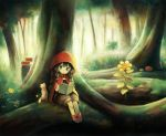 1girl :o aikei_ake animal bangs black_hair blush book boots braid brown_shorts cape cat commentary_request day eyebrows_visible_through_hair flower forest green_eyes holding holding_book hood hood_up hooded_cape little_red_riding_hood little_red_riding_hood_(grimm) low_twintails mushroom nature open_book original outdoors parted_lips puffy_shorts red_cape red_footwear short_shorts shorts sitting solo tree twin_braids twintails yellow_flower