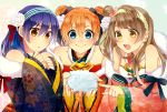 bangs bare_shoulders blue_eyes blue_hair blush brown_hair closed_mouth commentary_request double_bun floral_print flower gesho hair_between_eyes hair_flower hair_ornament highres holding japanese_clothes kimono kousaka_honoka long_hair long_sleeves love_live! love_live!_school_idol_festival love_live!_school_idol_project minami_kotori multiple_girls one_side_up open_mouth orange_hair pointing smile sonoda_umi wide_sleeves yellow_eyes