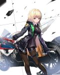 1girl absurdres bangs black_legwear black_shirt black_shorts blonde_hair blue_eyes breasts cup6542 eyebrows_visible_through_hair ground_vehicle hair_between_eyes highres holding holding_sword holding_weapon katana leaning_to_the_side long_hair medium_breasts motor_vehicle motorcycle original pantyhose pantyhose_under_shorts shirt short_shorts shorts smile solo standing sword weapon