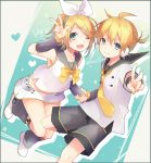 1boy 1girl ahoge arm_warmers blonde_hair bow bowtie fang grey_eyes hair_bow hand_holding heart kagamine_len kagamine_rin kuroi_(liar-player) leg_warmers looking_at_viewer miniskirt necktie sailor_collar short_hair shorts signature skirt smile star starry_background v vocaloid