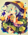 1girl :o black_frills black_hat blue_eyes blue_hair blush bow collared_shirt eyeball eyebrows_visible_through_hair floral_print frilled_shirt_collar frilled_skirt frilled_sleeves frills green_skirt hand_on_own_face hat hat_bow hat_ribbon heart heart_of_string komeiji_koishi looking_at_viewer medium_sleeves mina_(sio0616) open_mouth ribbon shirt short_hair skirt solo string third_eye touhou wide_sleeves yellow_bow yellow_ribbon yellow_shirt