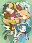 1boy 1girl :3 backpack backwards_hat bag black_hair blue_eyes blue_hair brown_eyes brown_hair cafe_(chuu_no_ouchi) capri_pants cropped_jacket crystal_(pokemon) eyebrows eyebrows_visible_through_hair eyelashes gen_1_pokemon gold_(pokemon) grin hat jacket legs_apart long_hair long_sleeves multicolored multicolored_clothes multicolored_shorts no_pupils open_clothes open_jacket pants poke_ball poke_ball_(generic) pokegear pokemon pokemon_(creature) pokemon_(game) pokemon_gsc raichu red_shirt shirt shoes short_hair shorts smile teeth thumbs_up twintails v_arms very_long_hair white_jacket yellow_hat yellow_pants