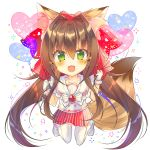 1girl :d animal_ears balloon bangs bell blush brown_hair chibi commentary_request eyebrows_visible_through_hair fang fox_ears fox_girl fox_tail gloves green_eyes hair_bell hair_between_eyes hair_intakes hair_ornament heart heart_balloon highres holding_balloon jingle_bell kneeling long_hair monaka_natsume open_mouth original pleated_skirt red_skirt sailor_collar school_uniform serafuku shirt shoes simple_background skirt smile solo striped tail thigh-highs uwabaki vertical-striped_skirt vertical_stripes very_long_hair white_background white_footwear white_gloves white_legwear white_sailor_collar white_shirt