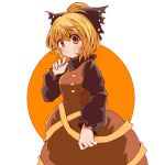 1girl black_ribbon blonde_hair blush bow brown_dress buttons closed_mouth dress hair_bow hair_ribbon kurodani_yamame long_sleeves looking_at_viewer puffy_sleeves ribbon short_hair smile solo touhou yasui_nori yellow_eyes yellow_ribbon