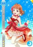 blush braids character_name love_live!_school_idol_festival love_live!_sunshine!! orange_hair red_eyes short_hair smile takami_chika