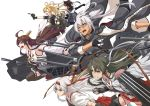 1girl 6+girls aa_gun abukuma_(kantai_collection) action ahoge alternate_costume alternate_hairstyle anchor anchor_symbol archery bangs bare_shoulders between_fingers black_coat black_gloves black_legwear black_neckwear black_ribbon black_skirt blonde_hair blue_eyes blush bodysuit boots bow_(weapon) breasts brown_eyes brown_hair buttons cannon chains clenched_teeth closed_mouth coat corset dark_skin detached_sleeves double_bun dual_wielding elbow_gloves eyebrows fingerless_gloves flight_deck floating_hair frilled_skirt frills full_body glasses gloves green_hair grey_hairband grey_shirt grey_skirt hachimaki hair_between_eyes hair_down hair_intakes hair_ornament hair_ribbon hair_rings hairband hakama_skirt hatsuzuki_(kantai_collection) headband headgear hip_vent jacket_on_shoulders japanese_clothes jinbaori kantai_collection kikumon kongou_(kantai_collection) kyuudou large_breasts legs_apart long_hair long_sleeves looking_afar machinery military military_uniform miniskirt multiple_girls muneate musashi_(kantai_collection) necktie nontraditional_miko open_mouth overcoat parted_lips partly_fingerless_gloves pleated_skirt quad_tails red_eyes remodel_(kantai_collection) ribbon ribbon-trimmed_clothes ribbon-trimmed_skirt ribbon-trimmed_sleeves ribbon_trim rimless_eyewear running sakiyamama sash school_uniform serafuku shirt short_hair short_sleeves shoukaku_(kantai_collection) sidelocks silver_hair single_glove skirt sleeve_cuffs sleeveless sleeveless_coat small_breasts teeth thigh-highs thigh_boots torpedo turbine turret turrets turtleneck twintails uniform weapon white_hair wind wind_lift work_in_progress yugake zettai_ryouiki zuikaku_(kantai_collection)