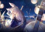 1girl animal_ears azur_lane bangs bare_shoulders bell blonde_hair breasts chinese_commentary closed_eyes eyebrows_visible_through_hair flower fox_ears fox_tail hair_flower hair_ornament highres japanese_clothes jingle_bell katana kimono light_particles lights lingcat long_hair multiple_swords multiple_tails night niizuki_(azur_lane) off_shoulder parted_lips resting sidelocks sky solo star_(sky) starry_sky sword tail weapon wide_sleeves