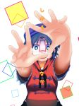 1girl bare_arms beret black_eyes black_hair blurry collared_shirt cover cover_page depth_of_field doujin_cover hands_up hat highres looking_at_viewer miyako_yoshika ofuda open_mouth outstretched_arms purple_hat red_shirt shikushiku_(amamori_weekly) shirt short_hair short_sleeves solo title touhou upper_body white_pupils