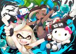 +_+ 2girls :3 arm_up arms_up basketball_jersey black_eyes black_footwear black_gloves black_shirt blue_legwear boots brown_eyes cephalopod_eyes cinnamoroll commentary_request crop_top crown dress fingerless_gloves gloves gradient_eyes green_eyes headphones hello_kitty hime_(splatoon) holding holding_weapon iida_(splatoon) inkling_(language) jellyfish_(splatoon) mole mole_under_mouth multicolored multicolored_eyes multiple_girls navel navel_piercing octarian paint_splatter pantyhose pensuke piercing pointing pointing_up sanrio sharp_teeth shirt sleeveless splatoon splatoon_2 squeezer_(splatoon) squid standing t-shirt teeth tenta_missiles_(splatoon) weapon white_dress white_hair zipper zipper_pull_tab