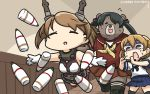 3girls animalization banana_peel bear black_hair brown_eyes brown_hair closed_eyes commentary_request dated gloves hamu_koutarou headgear highres indoors kantai_collection light_brown_hair mikuma_(kantai_collection) multiple_girls mutsu_(kantai_collection) neckerchief oboro_(kantai_collection) pleated_skirt school_uniform serafuku shaded_face short_hair skirt sweat tripping twintails type_91_armor-piercing_shell white_gloves