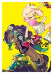 >:) +_+ 2girls ^_^ bare_arms bare_legs black_gloves closed_eyes closed_mouth collared_vest crop_top cropped_vest crown dark_skin domino_mask dress dual_wielding fingerless_gloves gloves green_hair green_skin grin headphones heavy_splatling_(splatoon) high_collar hime_(splatoon) holding holding_weapon iida_(splatoon) leaning_forward long_hair mask medium_hair midair midriff mole mole_under_mouth multicolored multicolored_hair multicolored_skin multiple_girls navel navel_piercing octarian outstretched_arms piercing pink_hair pointy_ears shoes short_dress shorts simple_background smile splatoon splatoon_2 spread_arms standing stomach suction_cups tentacle_hair twitter_username two-tone_hair unzipped uyori v-shaped_eyebrows very_long_hair violet_eyes weapon white_dress white_footwear yellow_background yellow_eyes zipper zipper_pull_tab