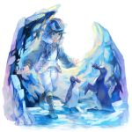 1boy blue_eyes blue_hair boots commentary_request dated fur_trim great_auk hat highres ice jacket koya10305 long_sleeves making_of male_focus original pants signature smile standing standing_on_one_leg walking white_pants