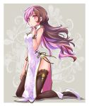 1girl black_legwear breasts brown_hair china_dress chinese_clothes commentary_request dress finger_to_mouth full_body hand_on_own_thigh high_heels highres iesupa kneeling long_hair medium_breasts multicolored_hair neo_(rwby) pelvic_curtain pink_eyes pink_hair rwby side_slit solo thigh-highs two-tone_hair white_dress wristband