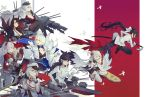 6+girls akagi_(azur_lane) animal_ears atago_(azur_lane) azur_lane black_footwear black_gloves black_legwear blue_eyes bow breasts brown_eyes cannon character_request cleavage eye_contact eyeshadow finger_sucking flight_deck flight_deck_scroll fox_ears fox_tail from_side gloves grey_hair hair_between_eyes hair_bow hand_up hat holding holding_sword holding_weapon jacket japanese_clothes jumping kaga_(azur_lane) kimono kuroduki_(pieat) large_breasts long_hair long_sleeves long_sword looking_at_another machinery makeup military_hat military_jacket multiple_girls multiple_tails obi pantyhose pleated_skirt ponytail prinz_eugen_(azur_lane) profile ready_to_draw red_eyes rigging sash scabbard sheath shoes short_hair skirt smile sword tail takao_(azur_lane) thigh-highs two_side_up unsheathing very_long_hair weapon white_bow white_gloves white_jacket white_legwear white_skirt wide_sleeves