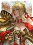 1girl aestus_domus_aurea aestus_estus ahoge bangs blonde_hair breasts cleavage colosseum day dress fate/extra fate_(series) fingerless_gloves gauntlets gloves gold green_eyes hair_bun hair_intakes highres large_breasts laurel_crown lips looking_back looking_to_the_side nero_claudius_(fate) nero_claudius_(fate)_(all) outdoors parted_lips petals red_dress red_gloves red_lips shoulder_armor sidelocks soffa solo stadium upper_body
