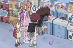 2boys 2girls absurdres backpack bag brown_hair digimon digimon_adventure gashapon gashapon_machine highres holding_hands izumi_koushirou keychain lillymon multiple_boys multiple_girls outdoors ponytail redhead shoes shorts sneakers tachikawa_mimi tantanmen yagami_hikari yagami_taichi younger