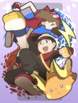 1boy 1girl :d :o arm_behind_back arm_up bandanna bangs bike_shorts black_pants black_shorts blue_eyes brown_hair cafe_(chuu_no_ouchi) clenched_hand closed_mouth fanny_pack fingerless_gloves game_boy_advance gen_1_pokemon gloves handheld_game_console haruka_(pokemon) hat holding holding_poke_ball leg_up long_hair long_sleeves miniskirt no_pupils open_mouth pants poke_ball poke_ball_(generic) poke_ball_theme pokemon pokemon_(creature) pokemon_(game) pokemon_rse raichu red_footwear red_shirt shirt shoes short_sleeves shorts shorts_under_skirt sideways_mouth skirt smile teeth tongue water white_hat white_skirt yellow_gloves yuuki_(pokemon)