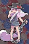 1girl black_hat bow calligraphy_brush coveralls cross-laced_footwear domino_mask hand_in_hair hat hat_bow holding holding_weapon inkbrush_(splatoon) inkling kitaru_(mabo_f) light_frown long_hair mask paintbrush pointy_ears print_shirt purple_footwear purple_hair purple_shirt red_bow shirt shoes short_coveralls short_sleeves sidelocks solo splatoon splatoon_2 strap_slip t-shirt tentacle_hair violet_eyes weapon