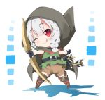 1girl ;q arrow bangs black_gloves blush boots bow_(weapon) braid brown_cape brown_footwear brown_shorts cape closed_mouth commentary_request dragon's_crown elf elf_(dragon's_crown) eyebrows_visible_through_hair gloves green_shirt hair_between_eyes head_tilt holding holding_bow_(weapon) holding_weapon hood hood_up hooded_cape knee_boots low_twintails milkpanda one_eye_closed pointy_ears quiver red_eyes shirt short_shorts shorts silver_hair sleeveless sleeveless_shirt smile solo standing tongue tongue_out twin_braids twintails weapon