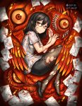 1girl black_hair blood closed_mouth gia high_heels highres looking_at_viewer lying medium_hair on_side orange_eyes pantyhose pencil_skirt scp_foundation semi-rimless_eyewear skirt solo torn_clothes torn_pantyhose