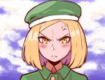 1girl anger_vein angry arutemawp87 blonde_hair blue_sky blush clouds cloudy_sky coat commentary_request fate/grand_order fate_(series) frown green_coat green_hat hat highres looking_at_viewer paul_bunyan_(fate/grand_order) pixiv_fate/grand_order_contest_2 portrait short_hair sky solo yellow_eyes