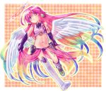 1girl :o angel_wings commentary_request crop_top cross feathered_wings gloves halo highres jibril_(no_game_no_life) long_hair low_wings magic_circle midriff mismatched_legwear multicolored_hair navel no_game_no_life open_mouth pink_hair shoes single_shoe solo stomach symbol-shaped_pupils tattoo very_long_hair white_wings wing_ears wings yellow_eyes younger yuiti43