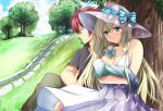 1boy 1girl baby bangs bare_arms blonde_hair blue_bow blue_eyes blue_ribbon bow braid breasts cleavage clouds collarbone day dress field grass hair_braid hair_ribbon hat highres holding_baby liseanon liz_hohenstein long_hair muvluv muvluv_alternative outdoors ribbon schwarzesmarken sky sleeveless sleeveless_dress smile striped striped_bow striped_ribbon sun_hat sundress theodor_edelbach tree tree_shade white_dress white_hat