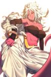 1girl absurdres android_21 baggy_pants bare_shoulders black_sclera bracelet breasts collarbone detached_sleeves dragon_ball dragon_ball_fighterz eureka_brider harem_pants highres impossible_clothes jewelry large_breasts long_hair looking_at_viewer majin_android_21 messy_hair midriff navel neck_ring pants pink_skin red_eyes solo strapless tubetop very_long_hair white_background white_hair