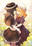 2girls belt black_belt black_capelet black_skirt blonde_hair bow bowtie breasts brown_eyes brown_hair brown_hat capelet commentary_request cowboy_shot dress eye_contact eyebrows_visible_through_hair eyes_visible_through_hair fedora field flower flower_field hair_between_eyes hand_holding hat highres interlocked_fingers long_hair long_sleeves looking_at_another maribel_hearn medium_breasts mob_cap multiple_girls parted_lips petticoat profile puffy_short_sleeves puffy_sleeves purple_dress red_bow red_neckwear rin_falcon sash shirt short_sleeves skirt smile standing touhou usami_renko white_flower white_hat white_sash white_shirt white_sleeves yellow_eyes yuri