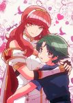 1boy 1girl alm_(fire_emblem) armor celica_(fire_emblem) dress fire_emblem fire_emblem_echoes:_mou_hitori_no_eiyuuou green_eyes green_hair highres hug kiriya_(552260) long_hair red_eyes redhead short_hair smile tiara younger