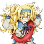 1girl alternate_costume anger_vein blonde_hair blue_eyes blue_hairband blush buttons commentary_request dress enemy_lifebuoy_(kantai_collection) gambier_bay_(kantai_collection) hair_between_eyes hairband kantai_collection long_hair long_sleeves open_mouth sailor_dress shinkaisei-kan simple_background solo tk8d32 twintails white_background white_dress