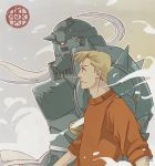 1boy alphonse_elric apron armor blonde_hair commentary english_commentary floating fullmetal_alchemist grey_background helmet long_sleeves looking_away male_focus profile red_eyes red_shirt shirt short_hair simple_background smile smoke standing upper_body walking yellow_eyes