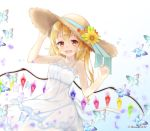 1girl :d alternate_costume alternate_headwear artist_name bare_arms bare_shoulders blonde_hair blue_background blue_ribbon blush bug butterfly collarbone commentary_request cowboy_shot crystal dress flandre_scarlet flower gradient gradient_background hair_between_eyes hand_on_headwear hands_up haruki_(colorful_macaron) hat hat_flower hat_ribbon highres insect long_hair looking_at_viewer open_mouth orange_flower red_eyes ribbon side_ponytail smile solo spaghetti_strap standing sun_hat sundress touhou twitter_username white_background white_dress wings yellow_flower