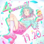 1girl anniversary aqua_hair bead_bracelet beads blue_eyes bracelet character_name clothes_writing crop_top dated doughnut food hand_on_own_stomach hand_up jewelry knees_up legs limited_palette long_hair looking_at_viewer nanasaki_nicole necklace ponytail reclining shoes signature skirt sneakers socks solo star star_necklace tokyo_7th_sisters tongue tongue_out yakimi_27